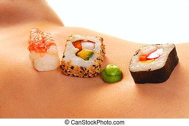 pelado, mulher, estômago, sushi