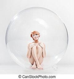 pelado, mulher sorridente, em, sabonetes, bola