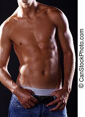 pelado, muscular, homem