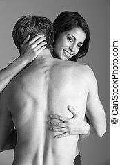 pelado, par jovem, abraçar