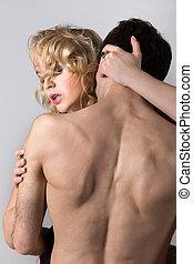 pelado, par, tendo, jovem, sexo