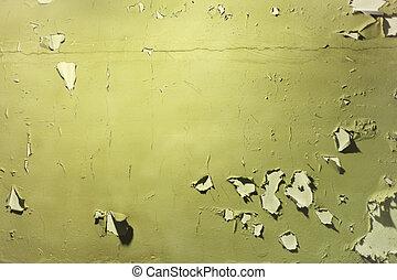 pelado, pared, pintura verde, de