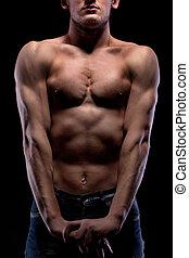 pelado, pretas, muscular, homem