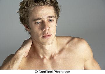 pelado, retrato, homem jovem