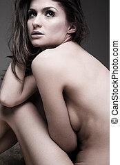 pelado, retrato, mulher, jovem, bonito