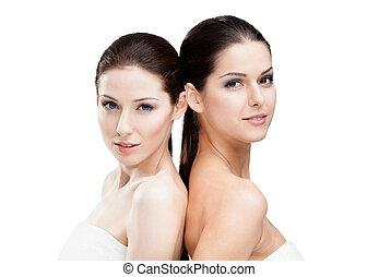 pelado, retrato, mulheres, dois, metade