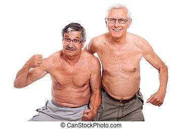 pelado, seniores, mostrando, corporal, Feliz