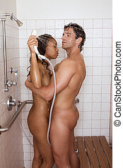 pelado, sensual, par, homem mulher, em, chuveiro