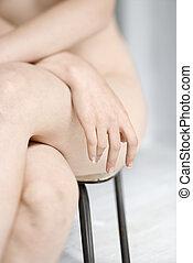 pelado, woman., parcialmente