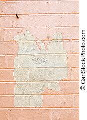 pelant coloriage, peint, cadre, flic, mur, entiers, brique