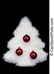 pele, árvore, isolado, experiência preta, christmas branco