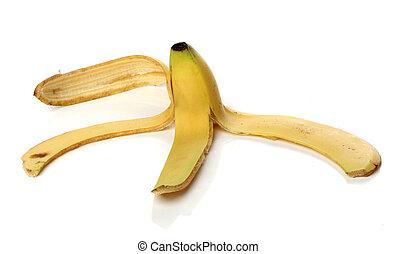 pele banana, isolado, branco