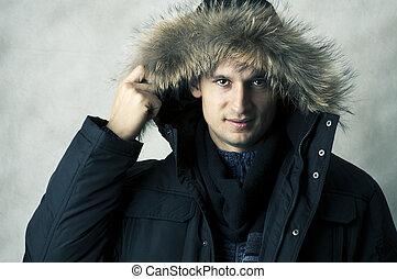 pele, capa inverno, pretas, capuz, homem