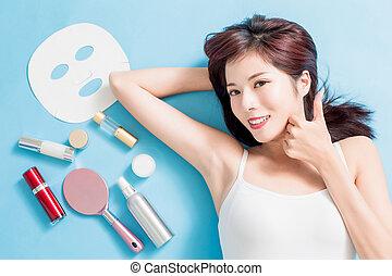 pele, conceito, cuidado beleza