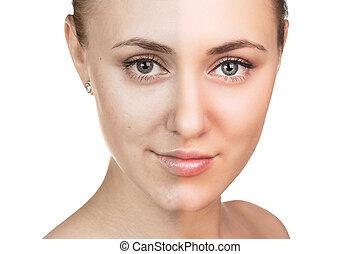 pele, concept., mulher, jovem, cuidado