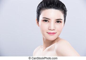 pele, mulher, conceito, cuidado beleza