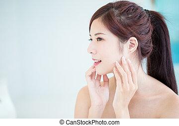pele, mulher, cuidado beleza