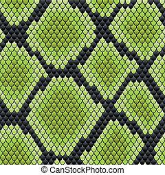 pele, padrão, réptil, verde, seamless