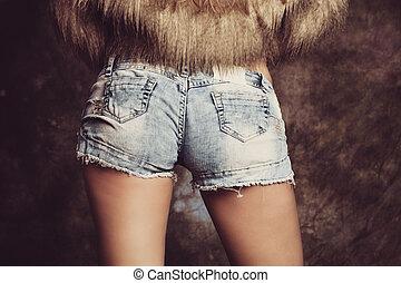 pele, shorts, calças brim, closeup, faux, menina