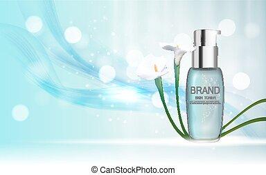 pele, toner, garrafa, tubo, modelo, para, anúncios, ou, revista, experiência., 3d, realístico, vetorial, iillustration