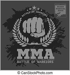 pelea, club, mma, mezclado, artes marciales