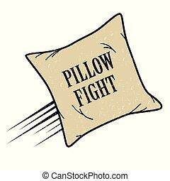 pelea, icono, almohada