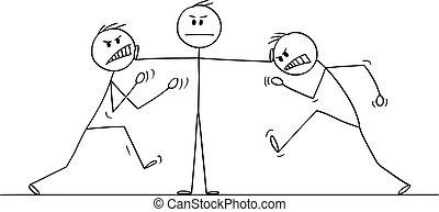 pelea, líder, colegas, parar, vector, o, hombre, dos, caricatura, ilustración, hombre de negocios