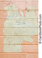 peler, beige, grungy, peinture, flic, grafitti, mur, fermé, brique
