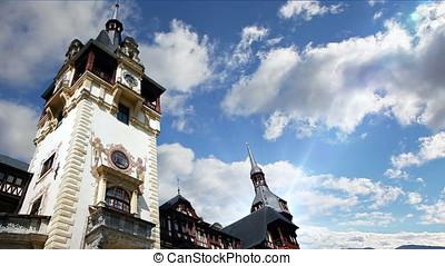 Peles Castle in Sinaia, Romania, timelapse clouds