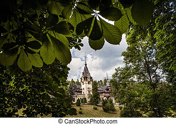 Peles Castle in the mountains of Romania