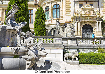 Peles castle, Sinaia, Romania - Allegoric stone statuary...