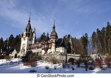 Peles Castle situated in the Carpathian Mountains, Sinaia, Romania