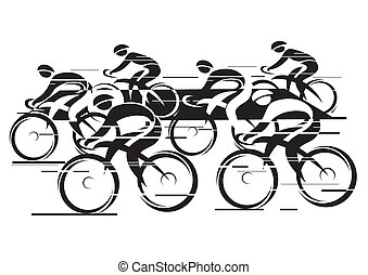 Peleton Cycle race - Black white background - cycling race...
