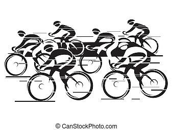 Peleton Cycle race - Black white background - cycling race...