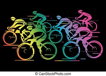 Peleton cycle race rainbow color