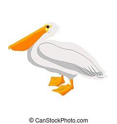 Pelican bird icon on white background, vector illustration