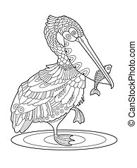 Pelican bird with fish coloring book vector illustration....