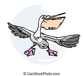 Pelican cartoon hand drawn image
