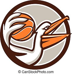 Pelican Dunking Basketball Circle Retro