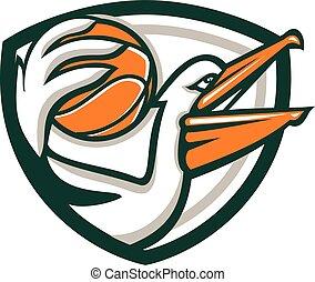 Pelican Dunking Basketball Crest Retro
