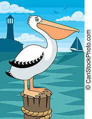 Pelican on perch.  No transparency and gradients used.