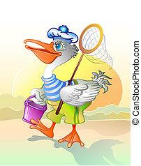 Pelican fisherman. Vector Ilustration