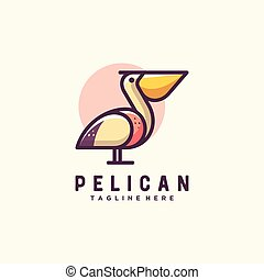 Pelican illustration vector Design template