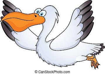 pelican in flight - illustration of pelican in flight