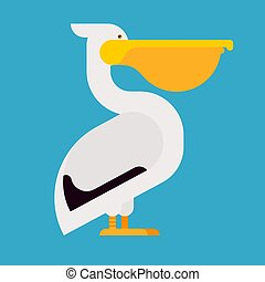 Pelican isolated Waterfowl. Big yellow beak Vector illustration