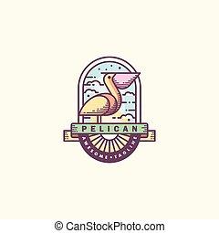 Pelican Line art illustration vector Design template