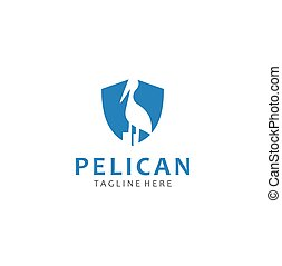 Pelican Logo Nature abstract design template . Pelican Shield Logo waterbird Design Stock Vector. Beak Logo Design Business
