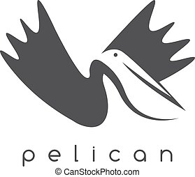 pelican negative space concept vector design template