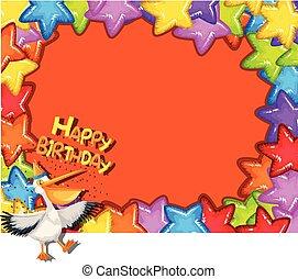 Pelican on birthday border