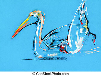 pelican painting - Original pastel and hand drawn painting ...